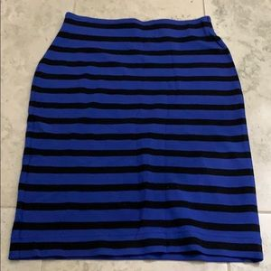 Loft skirt. Blue and black strip